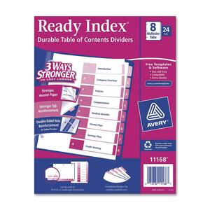 Avery® Ready Index® Table of Contents Dividers Coloured 1-8, 25 sets/box