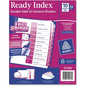 Avery® Ready Index® Table of Contents Dividers Coloured 1-10 25 sets/box