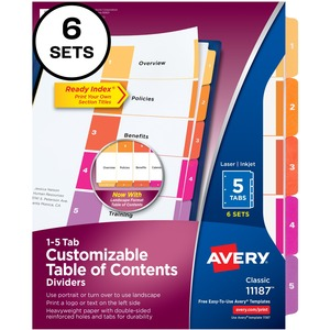 Avery® Ready Index® Table of Contents Dividers Coloured 1-5, 6 sets/pkg