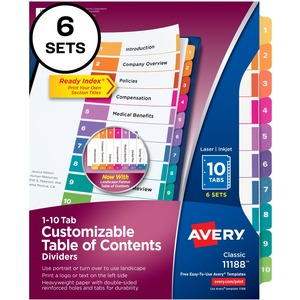 Avery® Ready Index® Table of Contents Dividers Coloured 1-10 6 sets/pkg