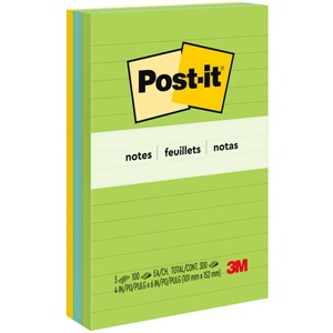 "Post-it® Notes Lined 4"" x 6"" 100 sheets per pad Assorted Jaipur Colours 3 pads/pkg"