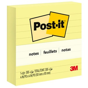 "Post-it® Notes Lined 4"" x 4"" 300 sheets per pad Canary Yellow"