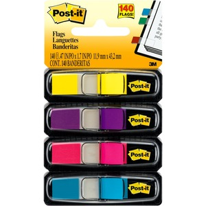 """Post-it® Flags 1/2"""" 35 flags per dispenser Yellow, Purple, Pink and Blue 4 dispensers/pkg"""