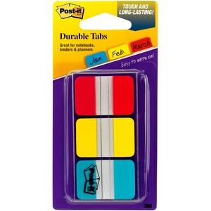 "Post-it® Tabs 1"" 22 tabs per pad, Red, Yellow and Blue 3 pads/pkg"