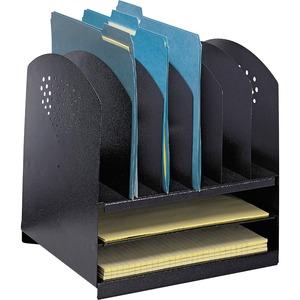 Safco® Steel Combination Desk Rack 8 Section Vertical Black