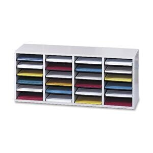 Safco® Wood Adjustable Compartment Literature Organizer 24 Compartment Grey