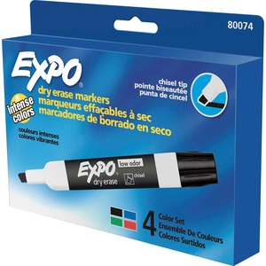 Expo® Low Odour Dry Erase Markers Chisel Tip Assorted Colours 4/pkg