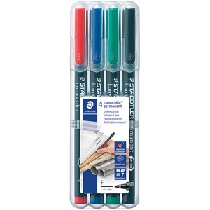 Staedtler® Lumocolor® Markers Permanent Fine Tip Assorted Colours 4/pkg