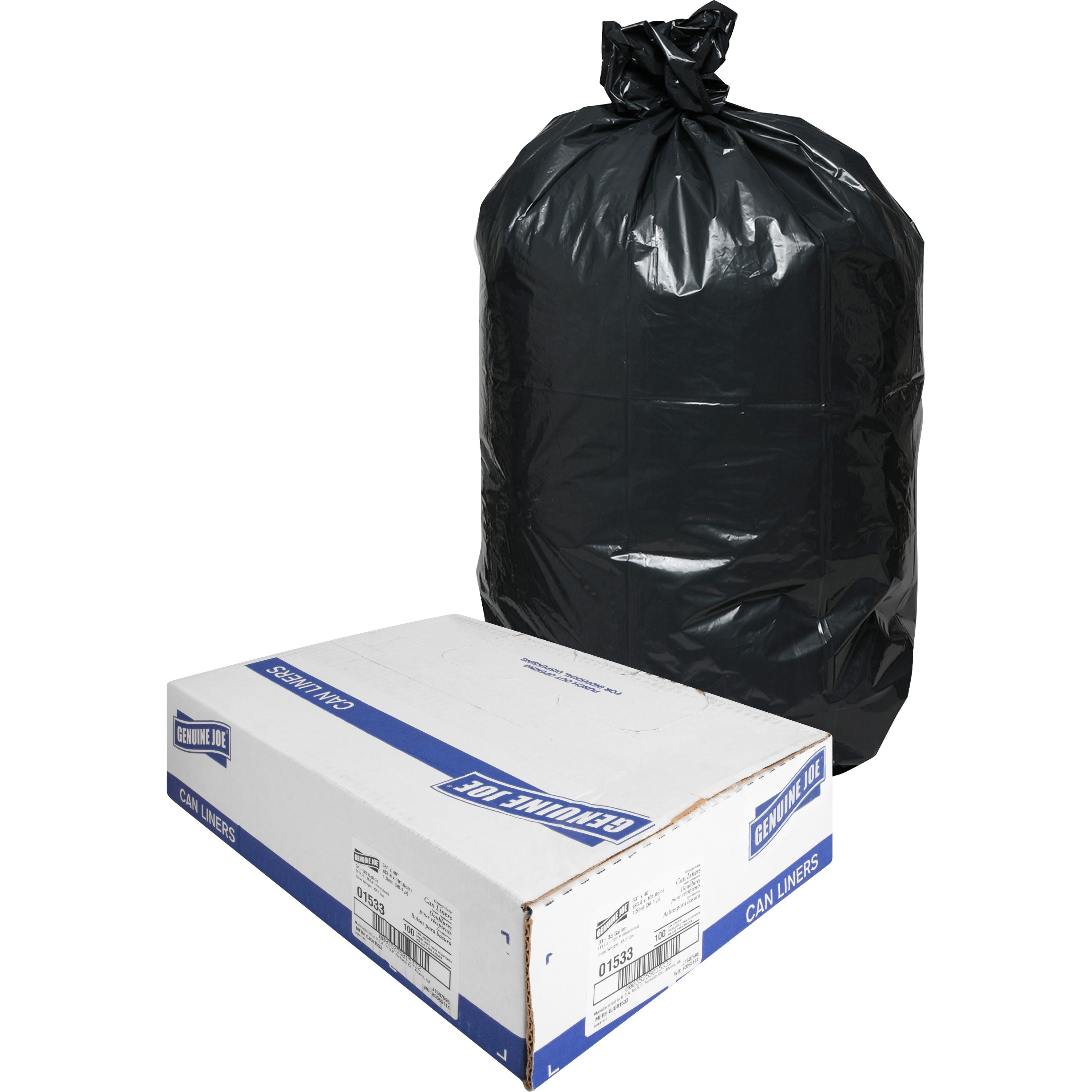 100-Pack Black 56 Gallon Heavy Duty Trash Can Liners Bags