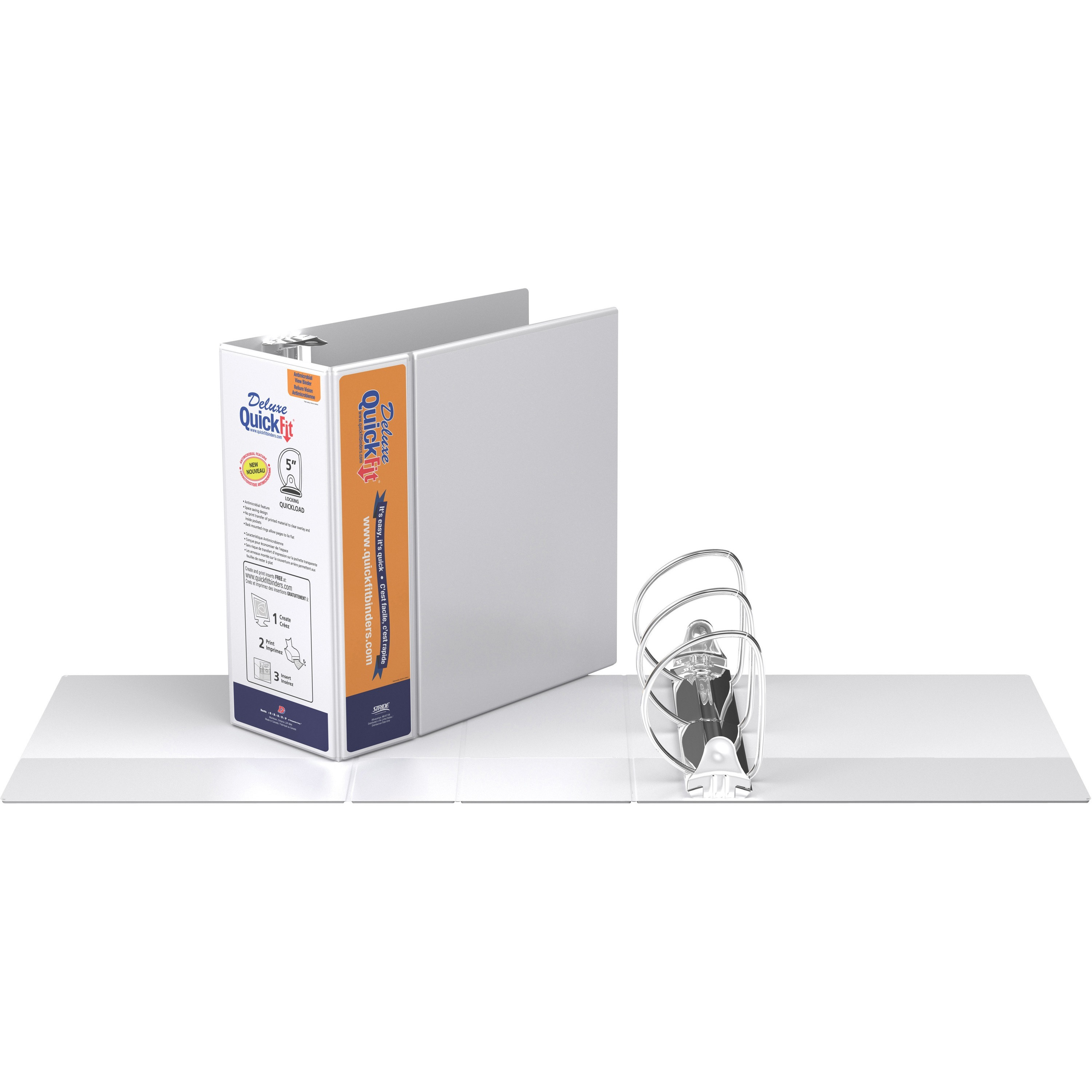 1 Each 5 Binder Capacity - White QuickFit View Binder Recycled D-Ring Fastener 2 Internal Pocket s