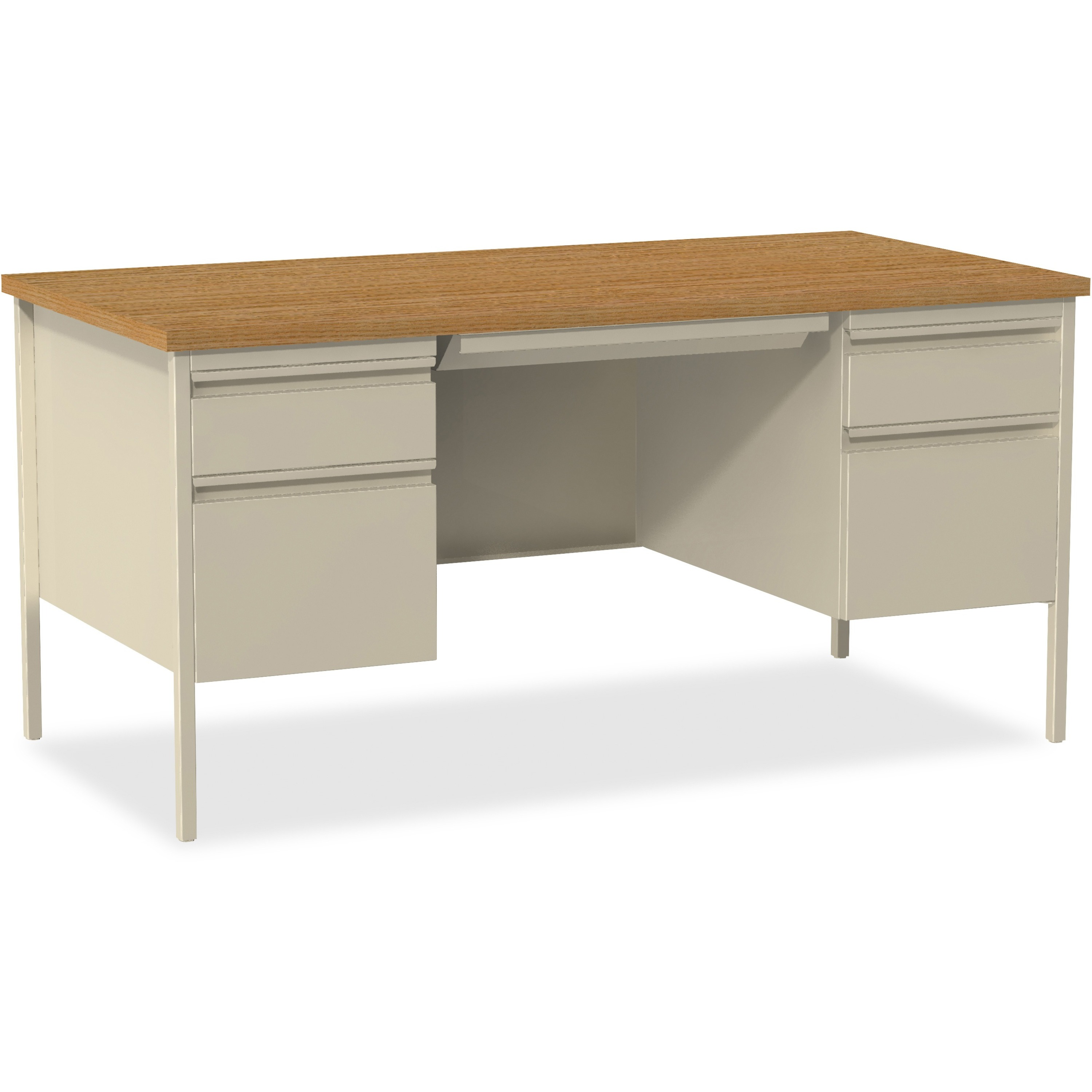 Prime Lorell Fortress Series Double Pedestal Desk Rectangle Top 2 Pedestals 60 Table Top Width X 30 Table Top Depth X 1 1 Table Top Thickness Download Free Architecture Designs Pushbritishbridgeorg