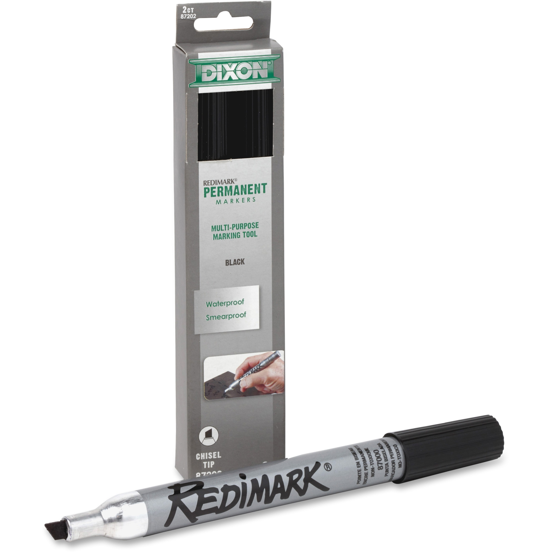 Dixon Redimark Metal Barrel Permanent Marker Chisel Point Style Black 1 Pack