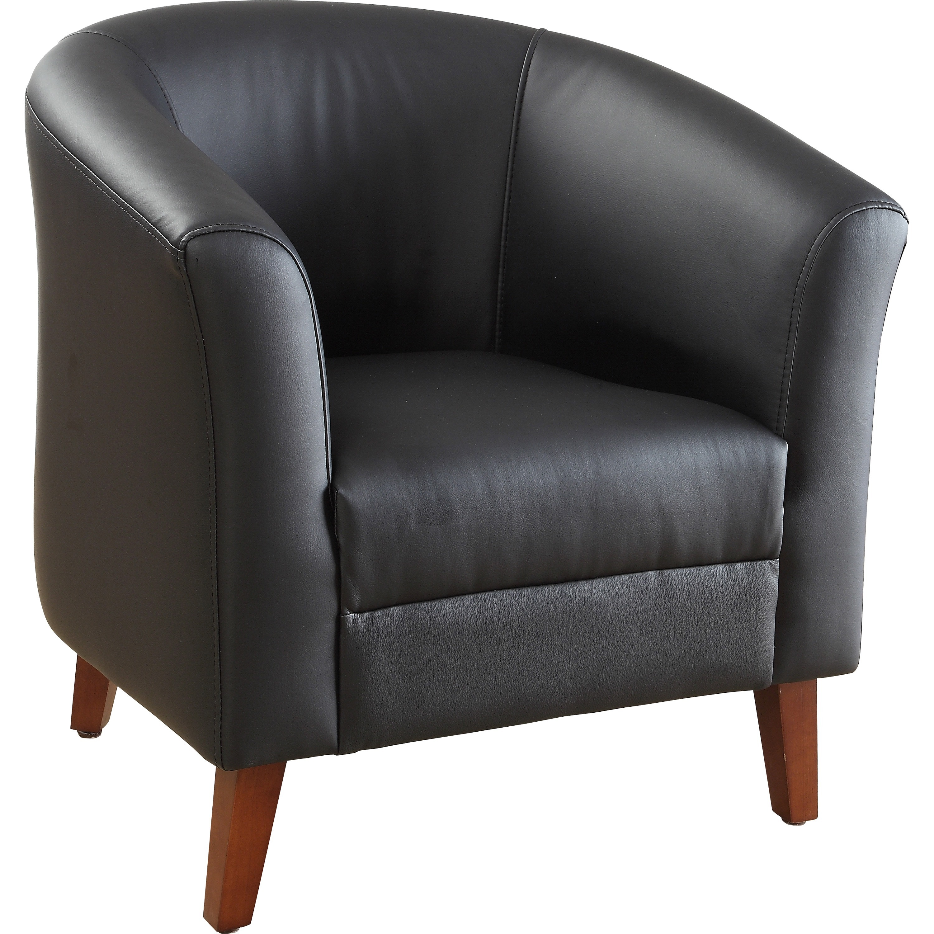 Lorell Leather Club Chair Four Legged Base Black Bonded 31 5 Width X 28 8 Depth 30 Height
