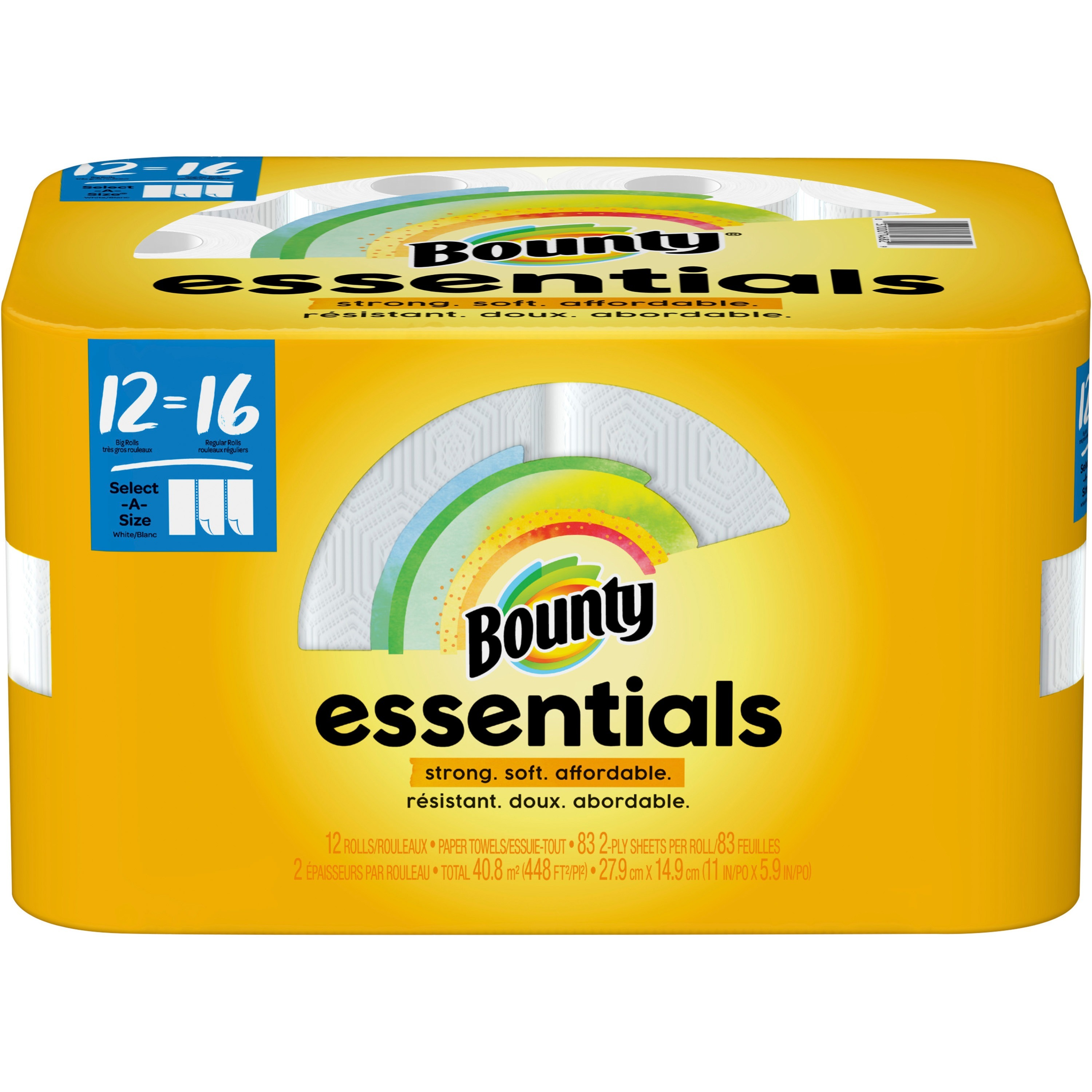 12 White 2-Ply 83 Sheets//Roll Bounty Select-A-Size Kitchen Rolls Paper Towel