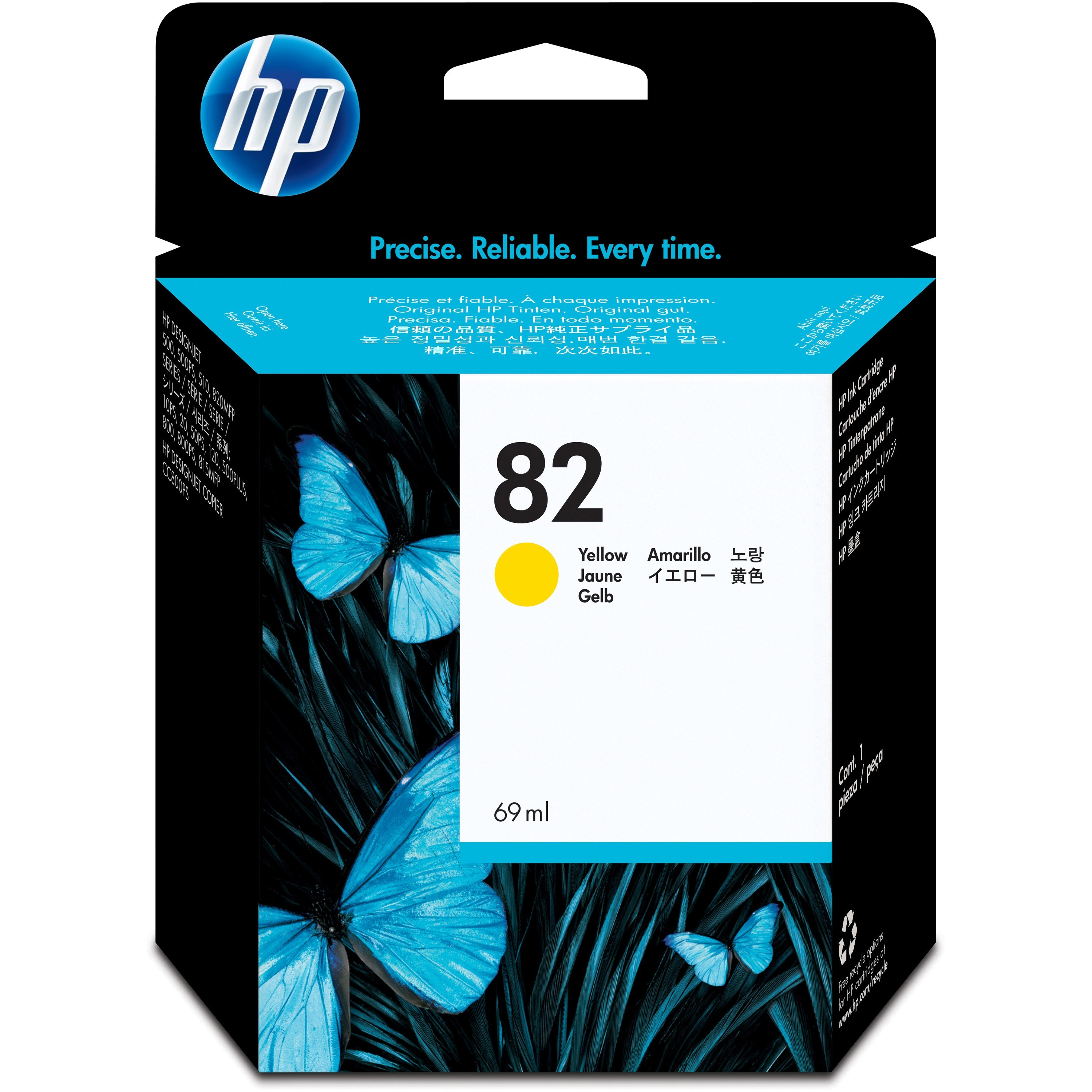 HP No.82 Yellow Ink Cartridge 69mL