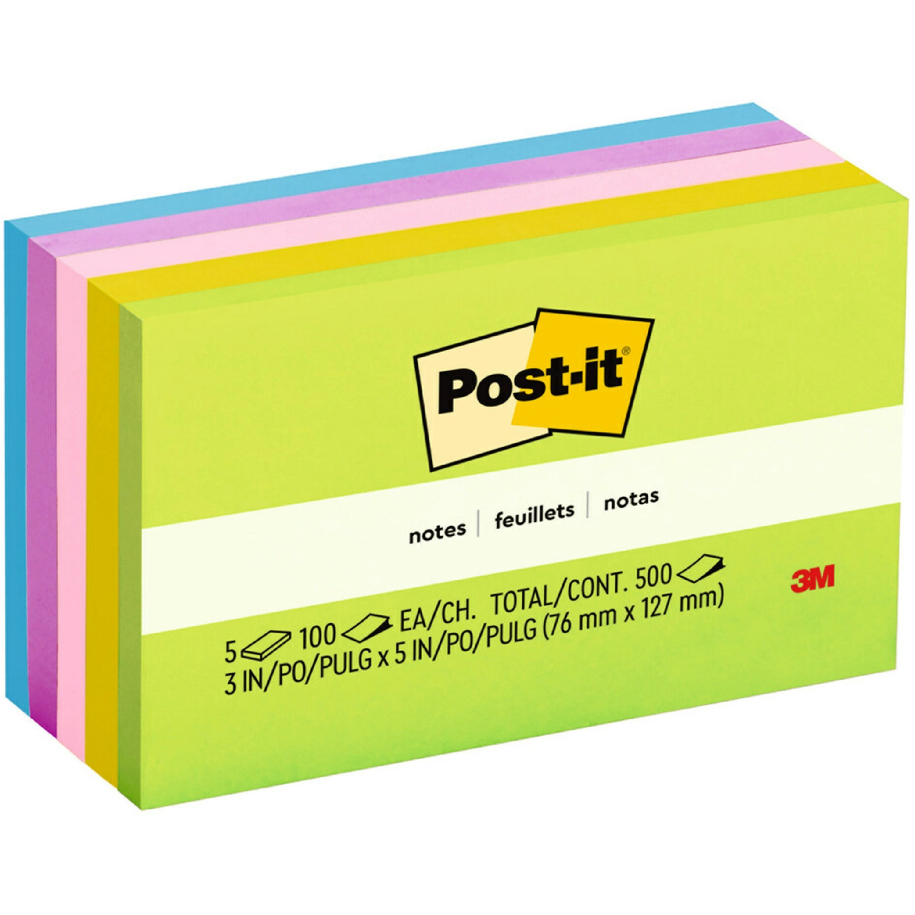 3M POST-IT Notes 655 Self Adhesive Message Pads 73mm x 123mm Yellow Each 36A035