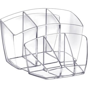 "CEP Ice Transparent Desktop Organizers, 6 Compartments, 5.6"" x 6"" x 3.6"", Crystal"
