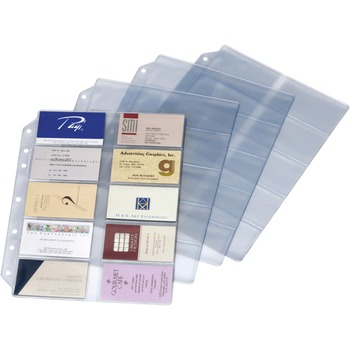 "Cardinal® EasyOpen Card File Binder Refill Pages, 12"" Height x 0.1"" Width x 9.5"" Length, 10 x Page, 200 x Card Capacity, For Letter 8 1/2"" x 11"" Sheet, Ring Binder, Rectangular, Clear, Polypropylene, 10/PK"