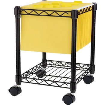 "Lorell® Compact Mobile Wire Filling Cart, 4 Casters, 15.5"" W x 14"" D x 19.5"" H, Metal, Black"
