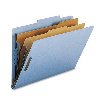 """Nature Saver 2-divider Legal Classifciation Folders, Legal, 8 1/2"""" x 14"""" Sheet Size, 2"""" Fastener Capacity for Folder, 2 Dividers, 25 pt. Folder Thickness, Blue, Recycled, 10/BX"""