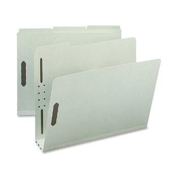 """Nature Saver Fastener Folders, Letter, 8 1/2"""" x 11"""" Sheet Size, 3"""" Expansion, Pressboard, Recycled, Gray/Green, 25/BX"""