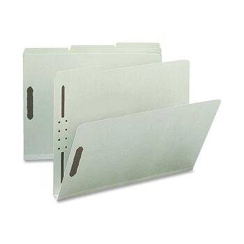 """Nature Saver 1/3-cut Pressboard Fastener Folders, Letter, 8 1/2"""" x 11"""" Sheet Size, 1"""" Expansion, 2 Fasteners, 2"""" Fastener Capacity for Folder, 1/3 Tab Cut, Gray/Green, Recycled, 25/BX"""