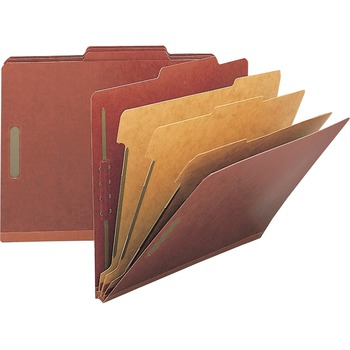 "Nature Saver Legal Size Expansion Classification Folders, Legal, 8 1/2"" x 14"" Sheet Size, 8 Fasteners, 2"" Fastener Capacity for Folder, Pressboard, Red, Recycled, 10/BX"