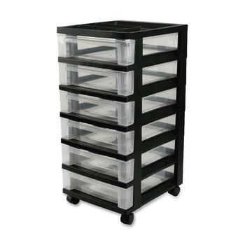 """Iris® Mini Storage Cart, 6 Drawer, 4 Casters, Plastic, 14.3"""" Width x 12.1"""" Depth x 26.4"""" Height, Black"""