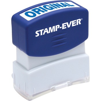 "Stamp-Ever® Pre-inked Original Stamp, 0.56"" Impression Width x 1.69"" Impression Length, 50000 Impressions, Blue"