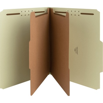 """Recycled Gray/Green Classification Folders, Letter, 8 1/2"""" x 11"""" Sheet Size, 2"""" Expansion, Prong K Style Fastener, Fiberboard, Pressboard, Gray/Green, Recycled, 10/BX"""