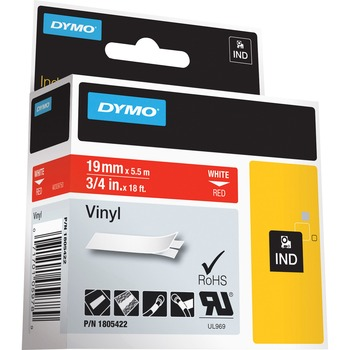 """DYMO® Colored 3/4"""" Vinyl Label Tape - Permanent Adhesive - 3/4"""" Width x 18 3/64 ft Length - Rectangle - Thermal Transfer - Red, White - Vinyl - 1 Each"""