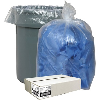 """Nature Saver Recycled Trash Can Liners, Extra Large Size, 60 gal, 38""""W x 58""""L x 1.50 mil Thickness, Low Density, Clear, Pilferage Control, 100/CT"""