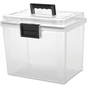 "Iris® Weather Tight Portable File Box, 13.7""L x 10.2""W x 11.9""H, 4.75 gal, Latching Closure, Heavy Duty, Plastic, Clear/Gray"