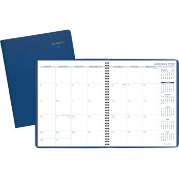 "Fashion Color Monthly Planner, Yes, Monthly, 1.3 Year, January 2020 till March 2021, 1 Month Double Page Layout, 9"" x 11"", Wire Bound, Simulated Leather, Blue"