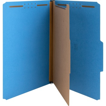 """Nature Saver Classification Folders, 8 1/2"""" x 14"""" Sheet Size, 1 Divider, Dark Blue, Recycled, 10/BX"""