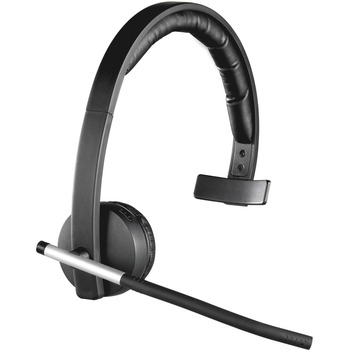 Logitech Wireless Headset Mono H820e Mono Wireless Dect 328 1 Ft 150 Hz 7 Khz Over The Head Monaural Supra Aural Electret Microphone Noise Canceling Wb Mason