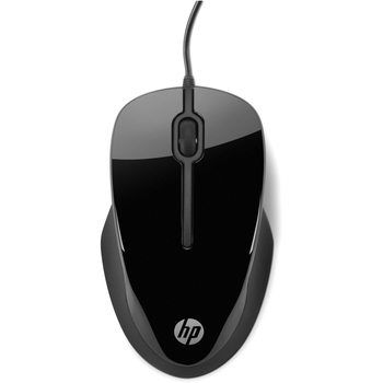 HP X1500 Mouse - Optical - Cable - Glossy Black, Metallic Gray - USB - Scroll Wheel - 3 Button(s)
