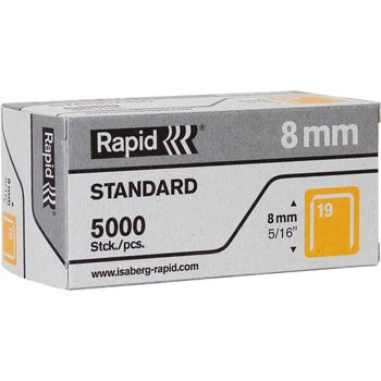 """Rapid® R23 No.19 Fine Wire 5/16"""" Staples, High Capacity, 19/8, 5/16"""" Leg, 3/8"""" Crown, for Fabric, Paper, Gray, 5000/BX"""
