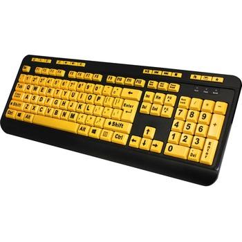 Adesso EasyTouch 132 - Luminous 4X Large Print Multimedia Desktop Keyboard - Cable Connectivity - USB Interface - 122 Key - English (US) - PC, Mac, iOS - Membrane Keyswitch - Fluorescent Yellow, Black