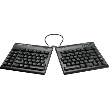 Kinesis Freestyle2 Blue, Bluetooth Multichannel Keyboard - Wireless Connectivity - English (US) - Mac, PC, Android - Membrane/Rubber Dome Keyswitch - Black