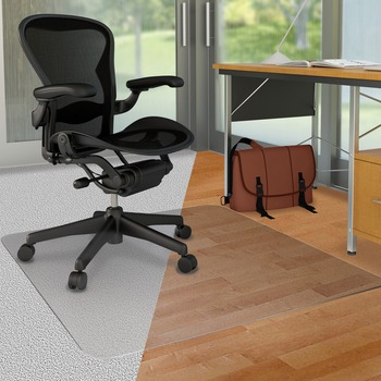 "DuoMat Carpet/Hard Floor Chair Mat, Carpet, Hard Floor, 53"" Length x 45"" Width, Lip Size 25"" Length x 12"" Width, Rectangle, Classic, Clear"