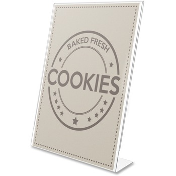 "Anti-Glare Slanted Portrait Sign Holder, Vertical, 11"" x 8.5"" x 2.5"", Acrylic, Clear"