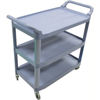 "3-Shelf Bussing Cart, 200 lb. Capacity, 40"" L x 20"" W x 38"" H, Gray"