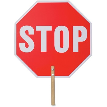 "Tatco Handheld Stop Sign, 18"" W x 18"" H, Double-Sided, Wood, White/Red"