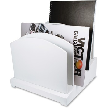 """Victor® W8601 Pure White Incline File, 5 Dividers, 8.8""""H x 9.5""""W x 9.6""""D, White, Wood, Rubber"""