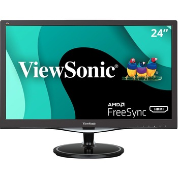 "ViewSonic® VX2457-mhd 24"" Full HD LED LCD Monitor - 16:9 - Black - 1920 x 1080 - 16.7 Million Colors - FreeSync - 300 Nit - HDMI - VGA - DisplayPort"