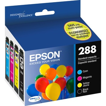 Epson® DURABrite Ultra 288 Ink Cartridge - Pigment Black, Pigment Cyan, Pigment Magenta, Pigment Yellow - Inkjet - Standard Yield - 165 Pages Color, 175 Pages Black - 4 / Pack