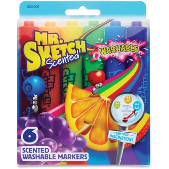 Mr. Sketch® 6-Count Scented Markers, Chisel Tip, Assorted Colors, 6/ST