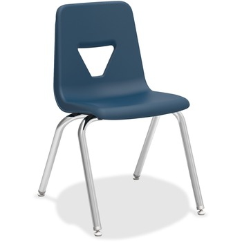 "Lorell® Stacking Student Chair, Four-legged Base, Polypropylene, 18.8"" W x 20.5"" D x 30"" H, Navy, 4/CT"