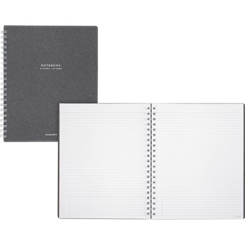 Mead® Meeting Notebook Twin Wire, Twin Wirebound, Ruled, Gray Cover